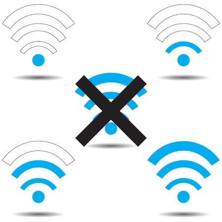 wi fi icon: Set with icons Wi fi (good network, bad) Illustration