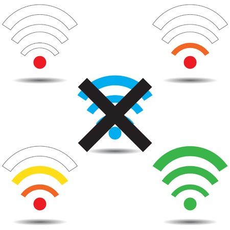 Set with icons Wi fi (from good to bad network) Vector
