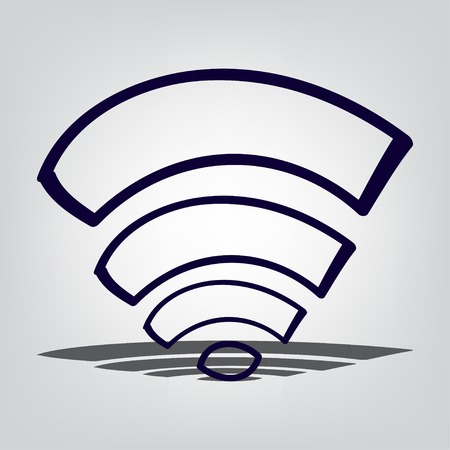 wi fi icon: Wi fi icon with shadow, communication