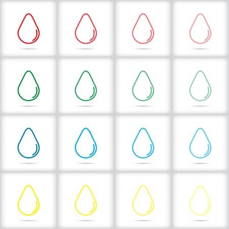 bionomics: Set of colored icons drops