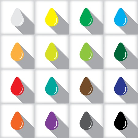 bionomics: Set of colored icons with drop shadow