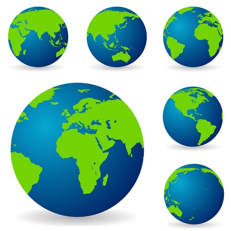 globo terraqueo: Un conjunto de tierras en diferentes variaciones, desde diferentes lados de t Vectores