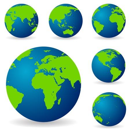 globe terrestre: Un ensemble de terres dans diff�rentes variations, de diff�rents c�t�s de t