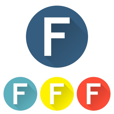friend nobody: Letter f in a flat on colored backgrounds vector illustration