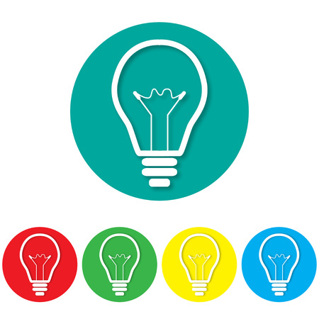 light bulb low: Icon lights on colorful backgrounds vector illustration