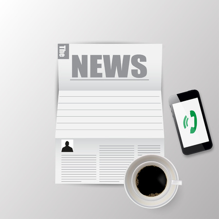morning: Newspaper morning for coffee and news vector illustration Illustration