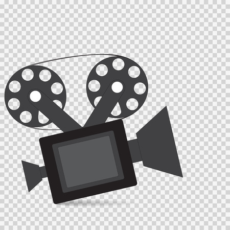 The camera icon with shadow on a checkerboard background Illustration