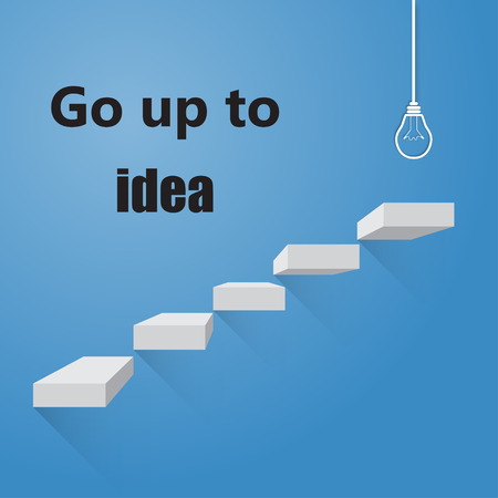 bright idea: Stairway to go to ideas bright idea, on colorful background Illustration