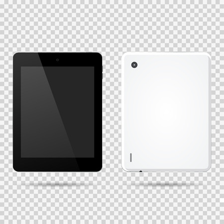 blank tablet: Tablet front, backside vector illustration
