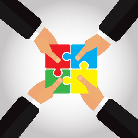 folded hands: Folded Puzzles in the hands 4 hands vector illustration
