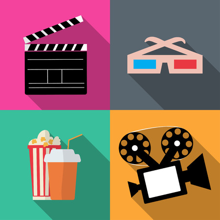 movie screen: Set icons movies in a flat style vector