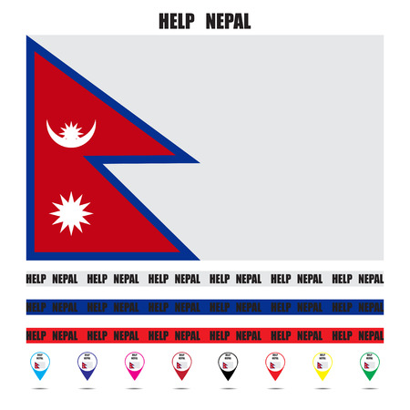 nepal: Offer assistance to Nepal tag tape vector