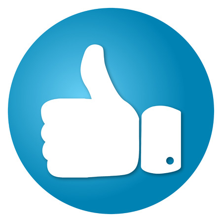 sign up icon: Thumbs up on a blue background vector round