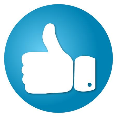 Thumbs up op een blauwe achtergrond vector ronde