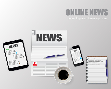online news: Online news vector illustration of a cup of coffee
