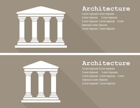 historic architecture: Greek temple icon vector illustration flat