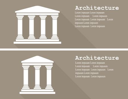 templo: Icono de templo griego ilustración vectorial plana Vectores