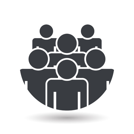 Crowd of people - icon silhouettes vector illustration flat design Иллюстрация