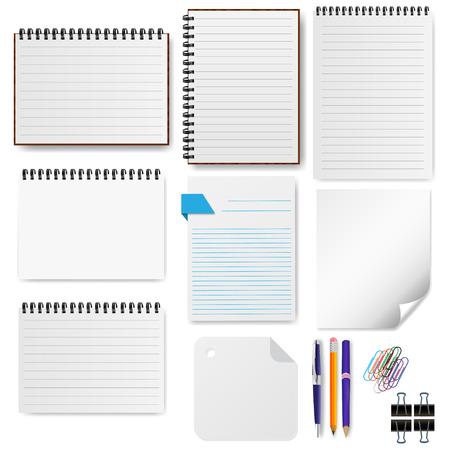 office paper: Office paper sheet set vector illustration