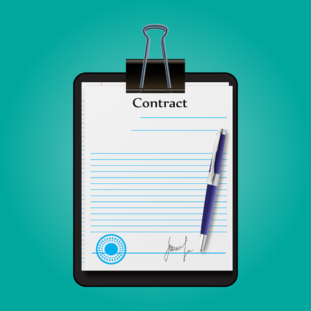 signing: The contract document signed and sealed vector illustration
