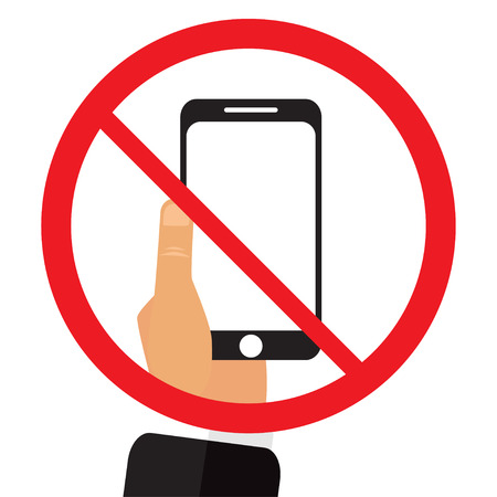 shut out: No phone sign vector illustration