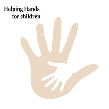 Ilustración ayudan a los niños abrazan dos manos