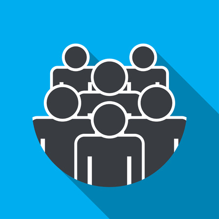 Crowd of people - icon silhouettes vector illustration flat design 向量圖像