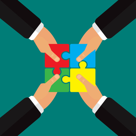 putting: Hands putting puzzle together, teamwork vector illustration