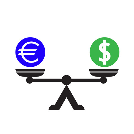 financial stability: Dollar euro scales icon vector illustration