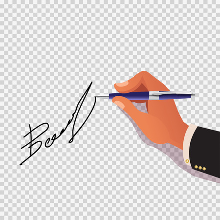 treaty: Hand sign on a gray checkered background vector illustration Illustration