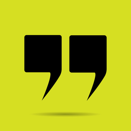 speech marks: quotes icon to yellow background vector illustration