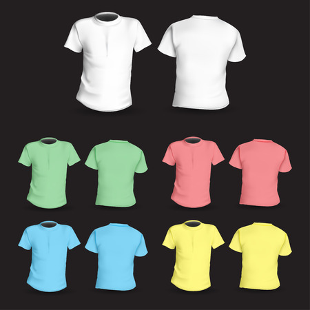 short sleeve: Set of colored t-shirts front and back vector
