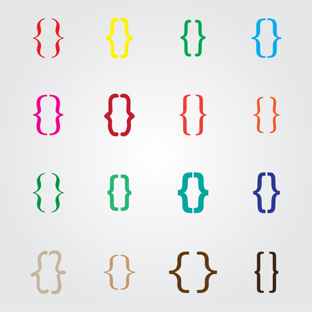 bracket: Set of curly colored different bracket icons Vector illustration