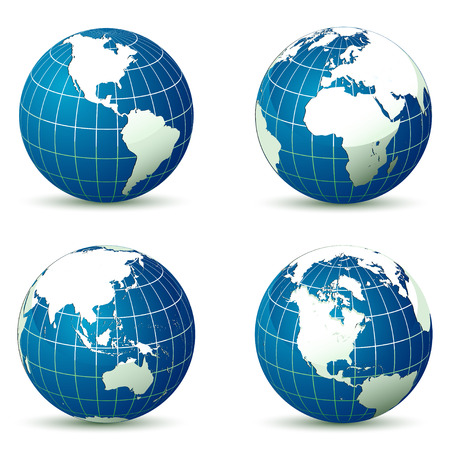 angles: Earth from different angles vector illustration