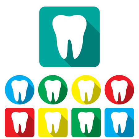 colored backgrounds: Teeth in a flat on the colored backgrounds