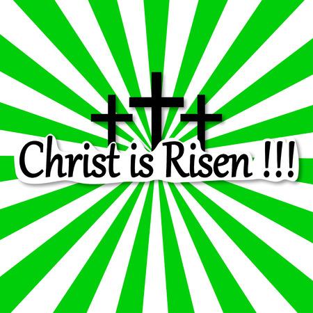 christ is risen easter: Radiation background, Easter Risen Christ, three crosses vector illustration