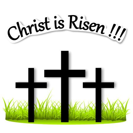 Three crosses on the grass Vector illustration Risen Christ