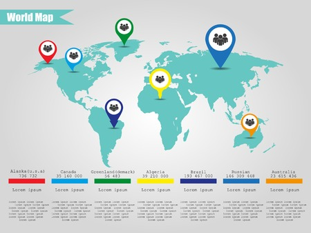 World map with pointers to different countries vector royalty free colorful modern infographic world map vector illustrator vector gumiabroncs Gallery