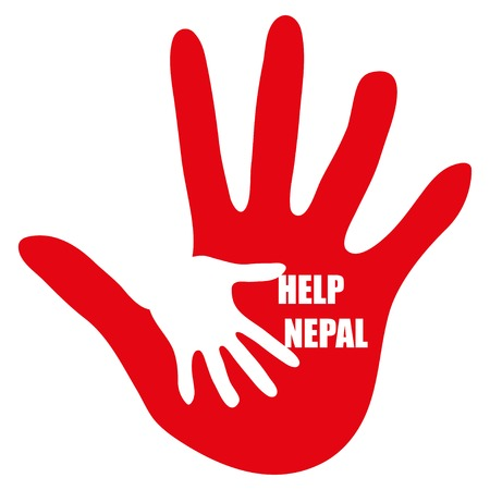 quake: Hand with message Help Nepal on white background