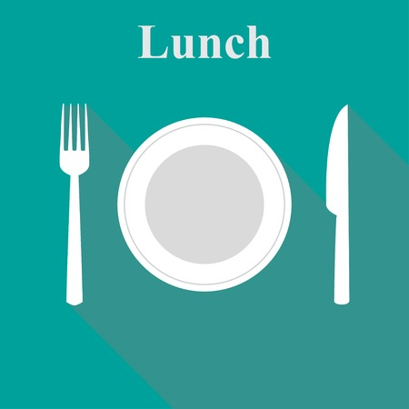 lunch break: Illustration lunch in a flat vector