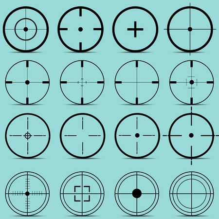 sights: Set of different sights on a turquoise background vector