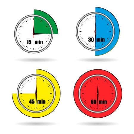 minutes: Clock icons stopwatch time from 15 minutes to 60 minutes vector Illustration