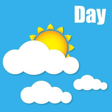 Illustrazione del giorno di sole nuvole vettore