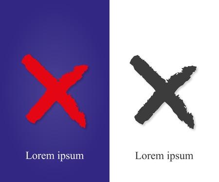 liquid x: X - Red cross handwritten vector illustration Illustration