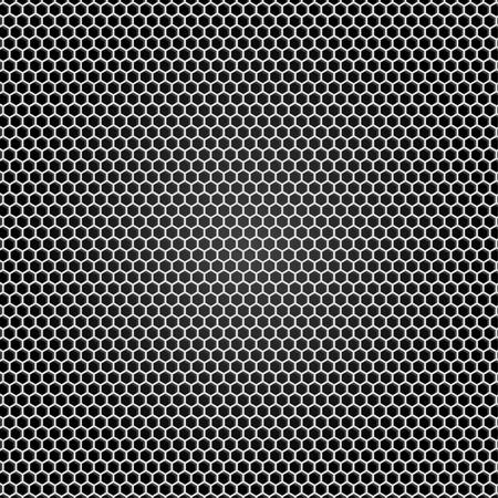 malla metalica: Rejilla de metal gris, fondo negro Vectores