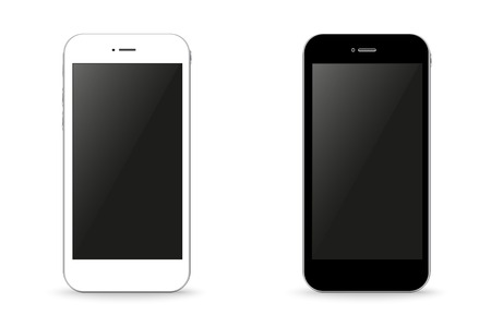 cell phone icon: Two stylish phone black and white vector illustration Illustration