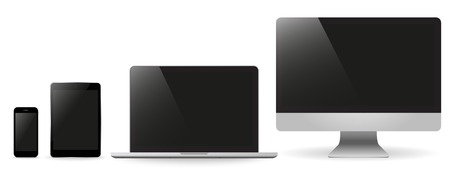 illustrati: Set realistic Monitors laptop tablet and phone vector illustrati