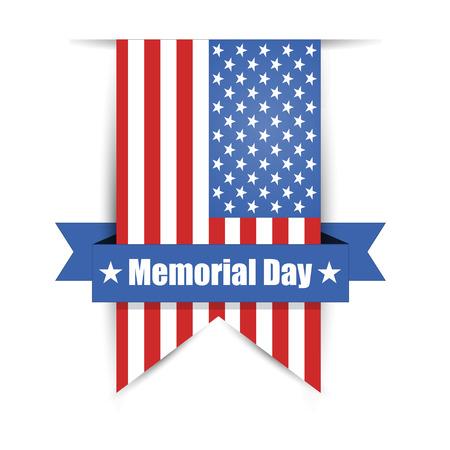 feliz: Bandera de los Estados Unidos para el Memorial Day ilustración vectorial