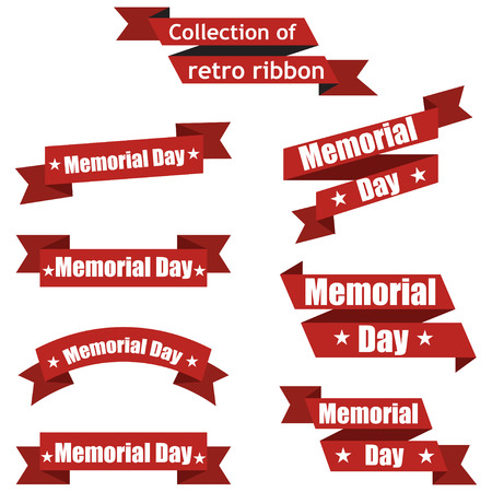 july: Set of different ribbons for memorial day america
