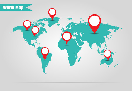 mapa mundi: Tierra marcado en la ilustraci�n de mapa vectorial Vectores